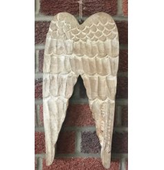 Decorate the home this season with these beautiful large angel wings with carved detailing and a jute string hanger