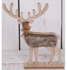 A woodland style reindeer decoration with geometric features, a faux fur coat and bell detail with bow.