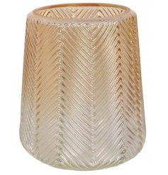 A chic gold ombre vase with a zig zag decorative pattern.