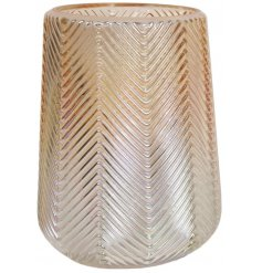 A chic lustre vase with a zig zag decorative surface finish