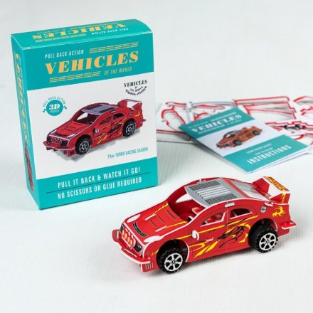 Get creative and build your own foam racing car and watch it speed along. The pull back mechanism makes this DIY car fun