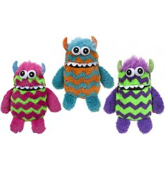 A mix of 3 colourful worry monster plush toys.