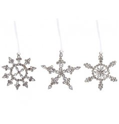 Add some glitz and glamour to your home this season with this mix of 3 jewelled snowflake hangers.