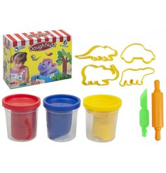A pack of 3 primary coloured play dough with moulds, roller and knife.