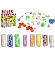 Have fun and get creative with this set of colourful dough with funny face accessories.