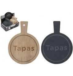 A mix of 2 slate and bamboo serving boards with a tapas sign. A chic serving item for the kitchen and home.