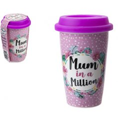 A pretty gift for mum. This travel cup with lid is decorated with a lovely mum sentiment, polka dots and flowers.