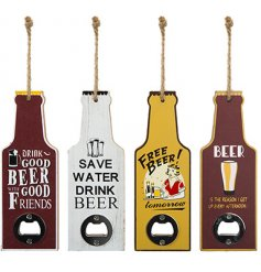 An assortment of 4 wooden bottle shaped plaques featuring Beer inspired slogans and a bottle opener clasp