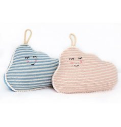 An assortment of 2 charming cloud design doorstops in blue and pink designs. An adorable gift item and interior item.