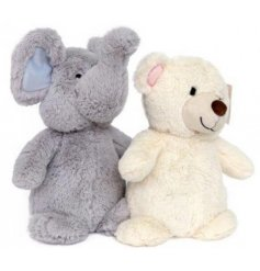 A mix of 2 plush animal doorstops in cute elephant and bear designs.
