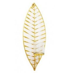 A beautiful and stylish gold leaf wall hanging with a glass candle holder. Ideal for a votive or t-light holder.