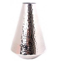 A rustic silver toned vase with an added ridged hammered effect