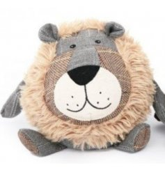 A charming lion designed doorstop with tartan features and a faux fur main.
