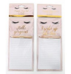 Stay organised with this mix of 2 chic and pretty magnetic memo pad sets with pencil.