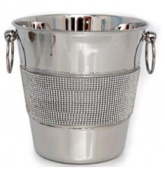 A beautiful silver and diamond champagne bucket with double handles. A stylish gift item.