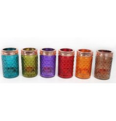 Bring a splash of colour to any home space with this stylish assortment of toned glass candle holders
