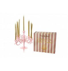Top your cakes with this pretty in pink and deliciously ornate candleabra candle holder.