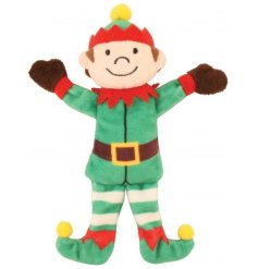 A cheeky plush elf character with magnetic hands. A fun and friendly seasonal companion for little ones.