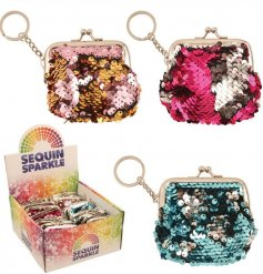 Get a sparkle on with this stylish assortment of sequin covered coin purses