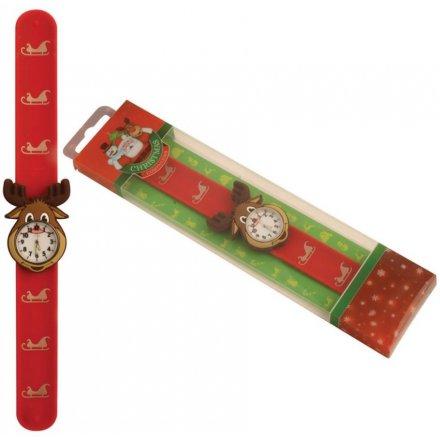 Red Reindeer Snap Watch