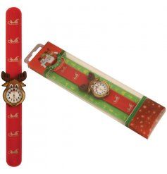 A fun and festive snap watch with a reindeer clock face and sleigh decoration detail.