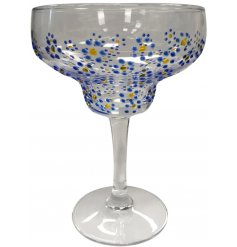 It's cocktail time! Enjoy a drink in this beautifully design margarita glass with a gold and blue floral design.