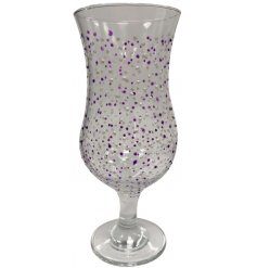 Enjoy your favourite cocktail in this hand decorated cocktail glass with a silver and purple dot finish with shimmer.