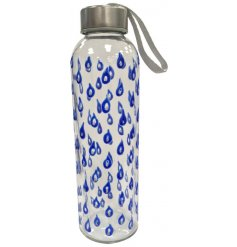 A stylish, eco friendly glass water bottle with metal lid and carry handle. Decorated in a beautiful blue teardrop desig