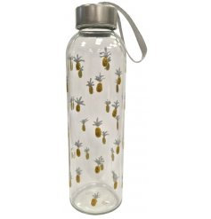 A stylish, eco friendly glass water bottle with metal lid and carry handle. Decorated with a glittery pineapple design
