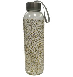 A stylish, eco friendly glass water bottle with metal lid and carry handle. Decorated with a glittery gold and silver do