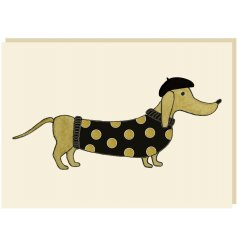 A chic and glamorous blank greetings card with a Dachshund design. Complete with a touch of sparkle.