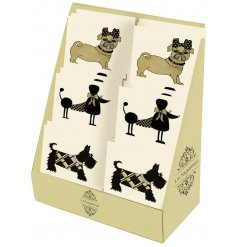 A mix of chic dog design greetings cards, each with envelope.