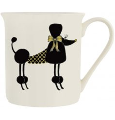 A chic and glamorous poodle design mug with jewels and sparkle. A unique gift item with gift box.