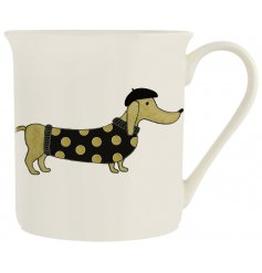 A fine quality porcelain mug with a glamorous Dachshund dog design.
