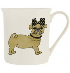 A fine quality porcelain mug with a glamorous Pug dog design.