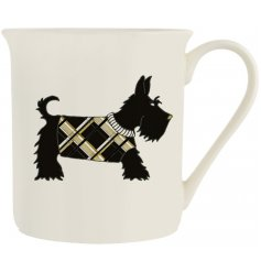 A fine quality porcelain mug with a Scottie Dog design. Complete with jewels and glitter.