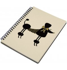 A chic and stylish spiral notebook with a glitter and jewelled poodle illustration.