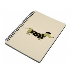 An elegant and chic Dachshund design notebook, complete with a touch of sparkle. A unique gift item.