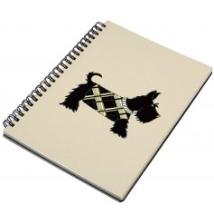An elegant and chic Scottie Dog design notebook, complete with a touch of sparkle.