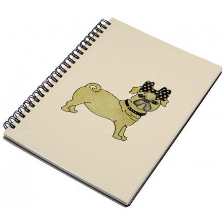 A5 Spiral Notebook, Pug Dog