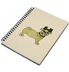 An elegant and chic Pug Dog design notebook, complete with a touch of sparkle. A unique gift item and stationery product