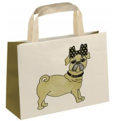 A fine quality pug design gift bag with fabric handle. Complete with a touch of sparkle.
