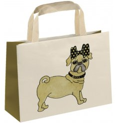 A unique and stylish pug design gift bag, embellished with jewels and glitter. Complete with fabric handle.