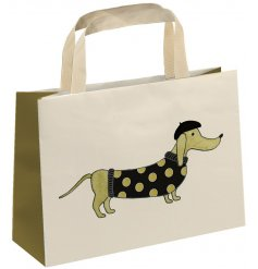 A fine quality gift bag with fabric carry handle. Complete with a chic and elegant daschund dog illustration.
