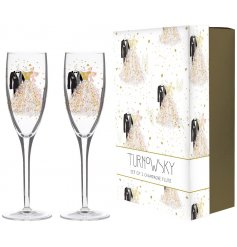 A beautifully decorated set of 2 Champagne Flute Glasses, complete with a decorative box for presentation