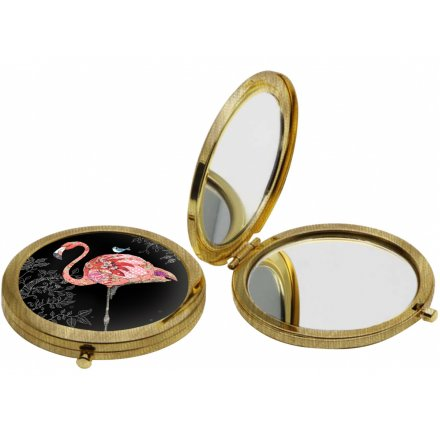 this beautifully Flamboyant Flamingo printed metal compact mirror is part of a new range of themed Giftwares from the Bu