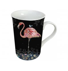 A beautifully flamboyant flamingo themed Porcelain Mug with a matching gift box for presentation