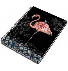 A beautifully flamboyant flamingo themed notebook with a metal spine and hardback cover.