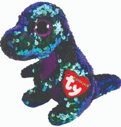 Meet Crunch, a highly tactile sequin dinosaur from the new and highly anticipated TY Flippable Beanie Boo range.