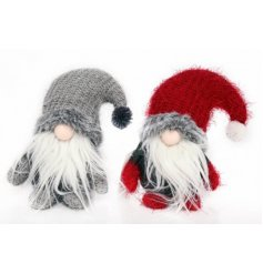 A sweet assortment of sitting gonks in festive red and grey tones, perfectly set with fuzzy features and pompom hats